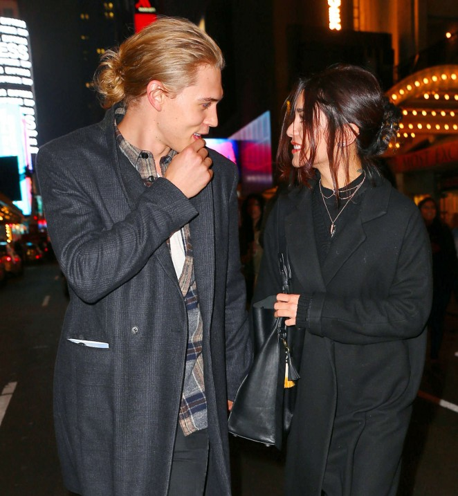 Vanessa Hudgens and Austin Butler go to see Hamilton in New York City