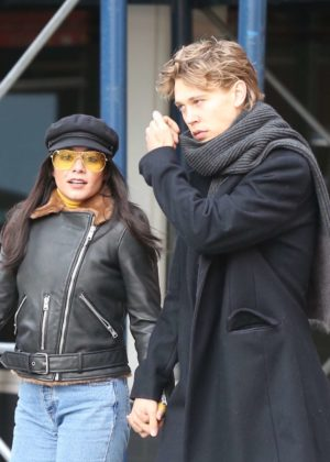 Vanessa Hudgens and Austin Butler - Leaving a restaurant in Manhattan