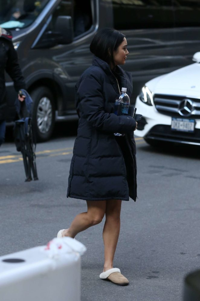 Vanessa Hudgens - Arrives on set for 'Second Act' in New York City