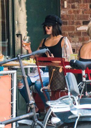 Vanessa Hudgens at an Italian restaurant in NYC