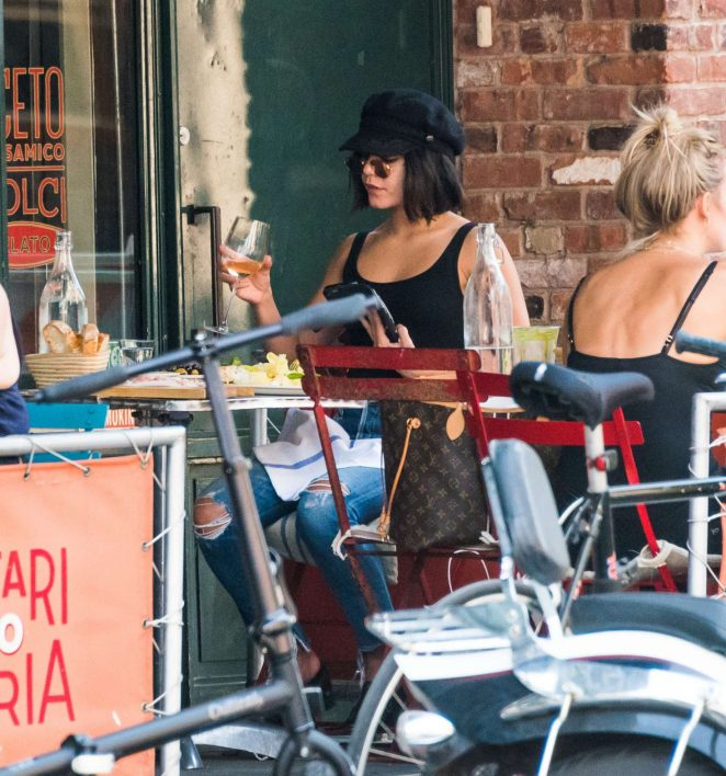 Vanessa Hudgens at an Italian restaurant in NYC