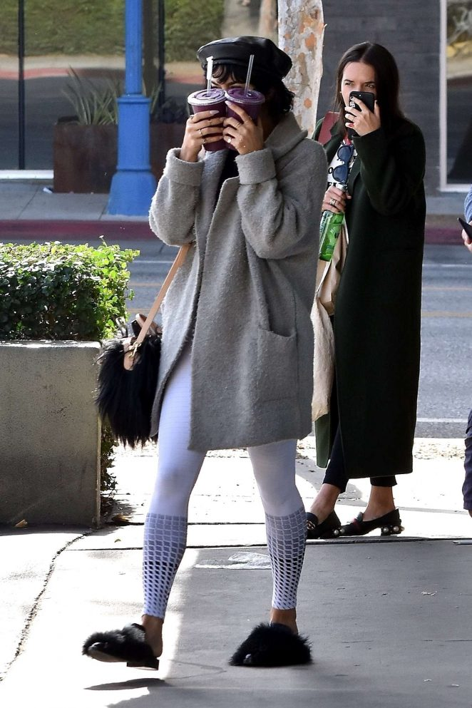 Vanessa Hudgens at Earth Bar for drinks in West Hollywood