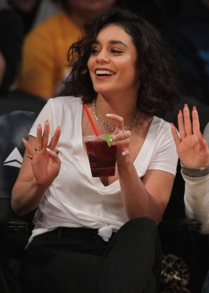 Vanessa Hudgens at Lakers game in Los Angeles