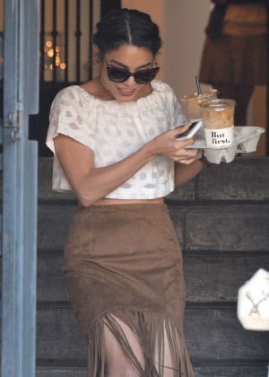 Vanessa Hudgens - Gets coffee at Alfred Coffee in West Hollywood