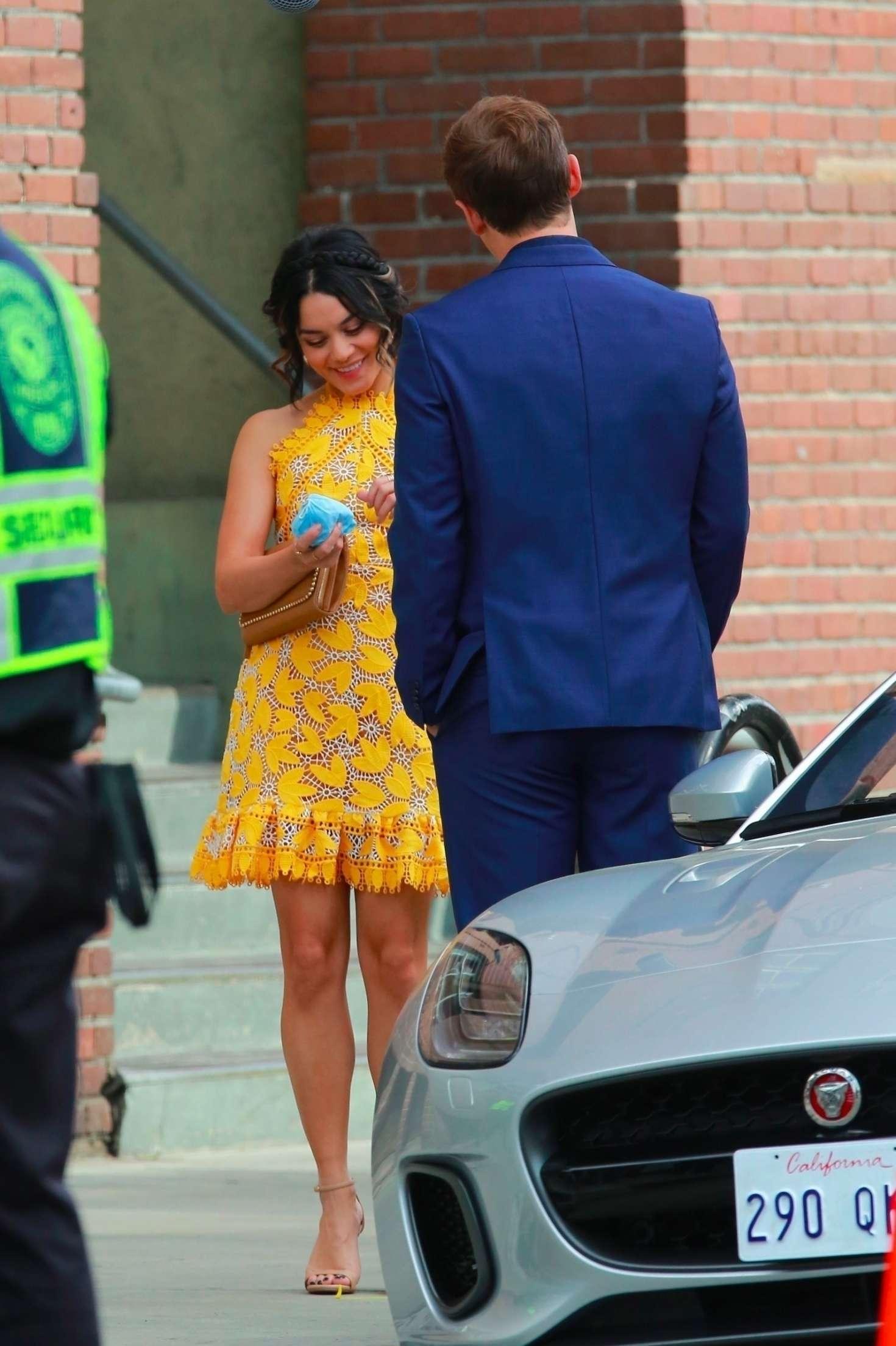 Vanessa Hudgens 2017 : Vanessa Hudgens gin Yellow Mini Dress Filming Dog Days -05