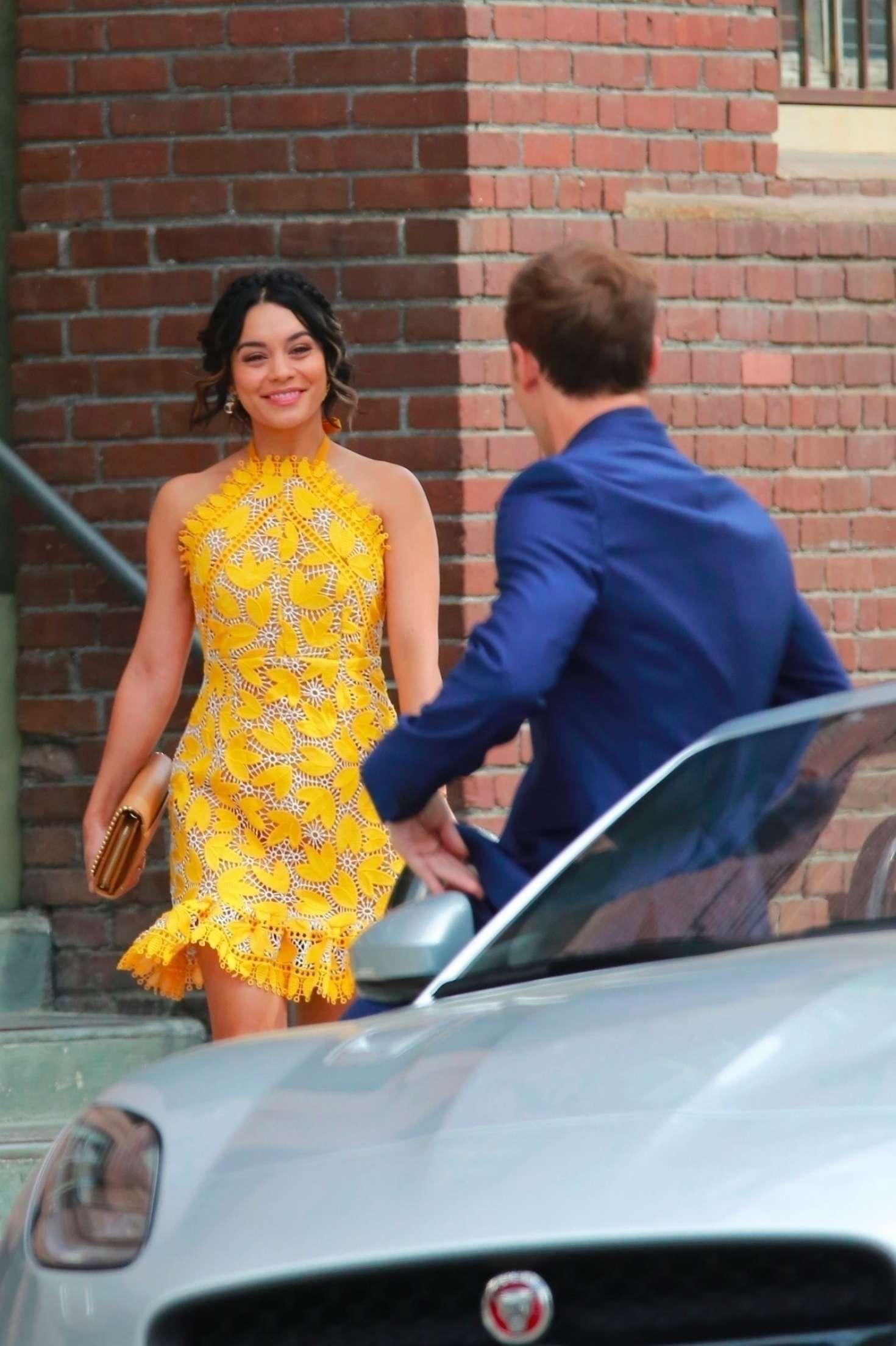 Vanessa Hudgens 2017 : Vanessa Hudgens gin Yellow Mini Dress Filming Dog Days -17