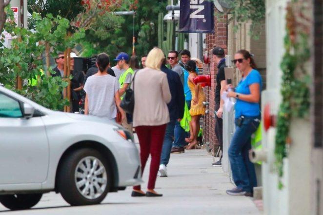 Vanessa Hudgens gin Yellow Mini Dress Filming Dog Days -21