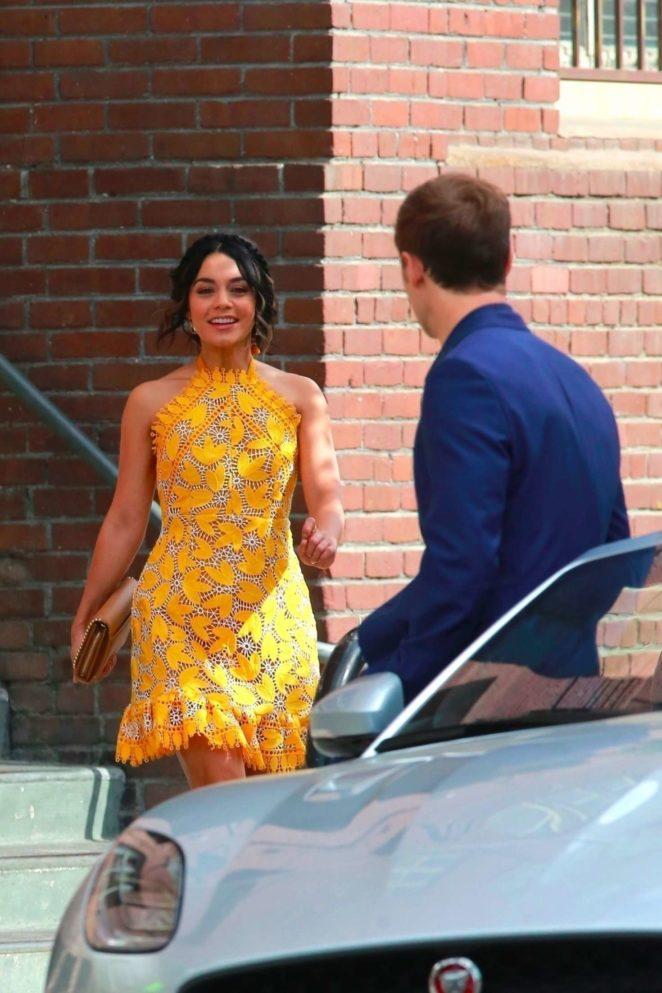 Vanessa Hudgens 2017 : Vanessa Hudgens gin Yellow Mini Dress Filming Dog Days -23