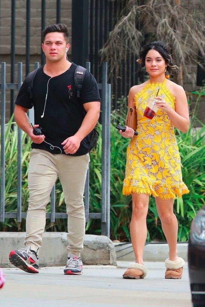 Vanessa Hudgens 2017 : Vanessa Hudgens gin Yellow Mini Dress Filming Dog Days -29
