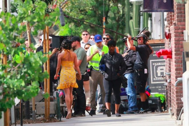 Vanessa Hudgens gin Yellow Mini Dress Filming Dog Days -30