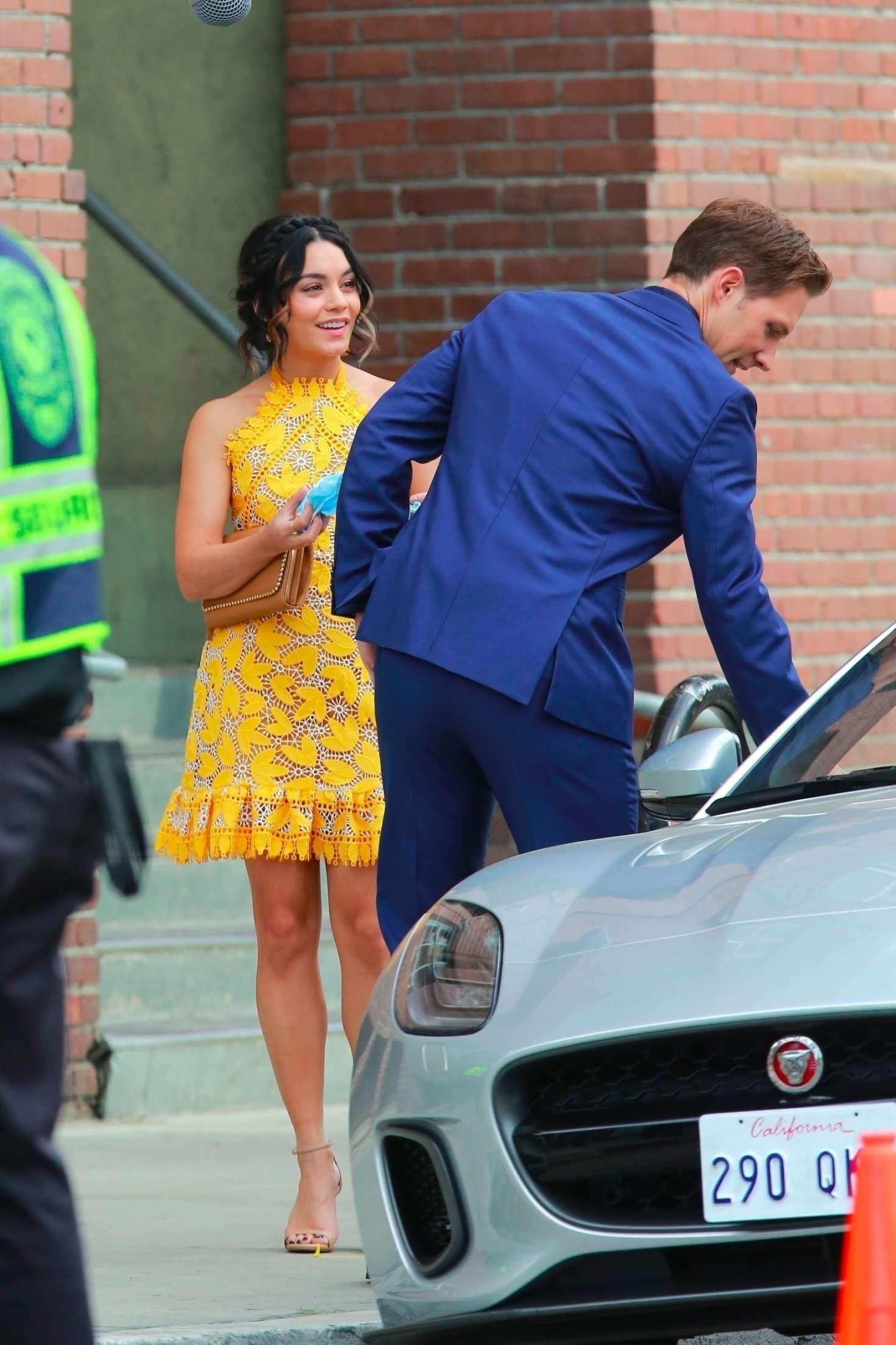 Vanessa Hudgens 2017 : Vanessa Hudgens gin Yellow Mini Dress Filming Dog Days -33