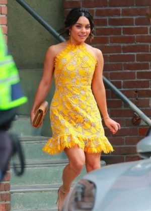 Vanessa Hudgens gin Yellow Mini Dress Filming 'Dog Days' in Los Angeles