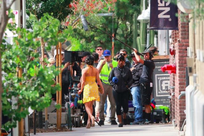 Vanessa Hudgens gin Yellow Mini Dress Filming Dog Days -53