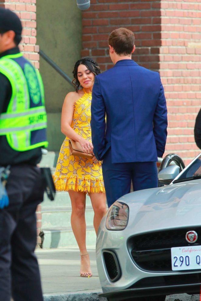 Vanessa Hudgens 2017 : Vanessa Hudgens gin Yellow Mini Dress Filming Dog Days -55