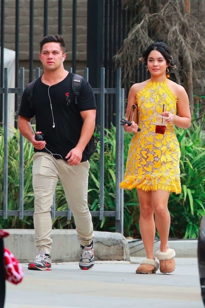 Vanessa Hudgens 2017 : Vanessa Hudgens gin Yellow Mini Dress Filming Dog Days -62
