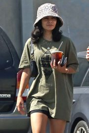 Vanessa Hudgens - Grabs ice coffee after leaving pilates class in Los Angeles