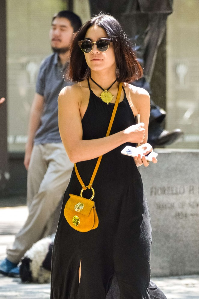 Vanessa Hudgens in Black Dress Out in Soho