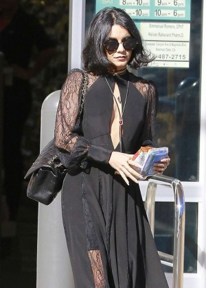 Vanessa Hudgens in Black Dress Out in Studio City