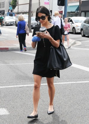 Vanessa Hudgens in Black Mini Dress out in Beverly Hills