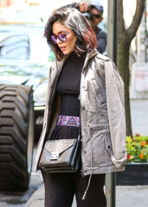 Vanessa Hudgens in Black Pants Leaving her apartment in Soho