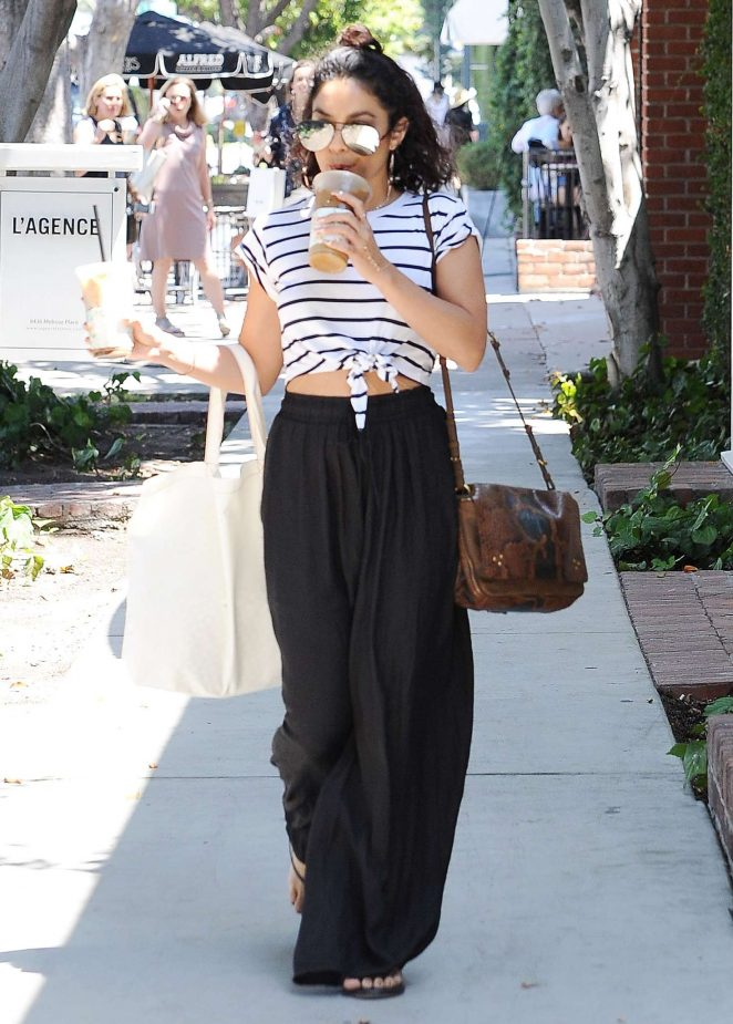Vanessa Hudgens in Black Pants With Iced Coffee in Los Angeles