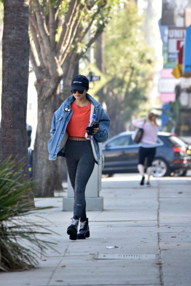 Vanessa Hudgens in Denim Jacket and Leggings – Out in Los Angeles