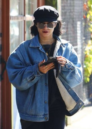 Vanessa Hudgens in Denim Jacket - Out in Studio City