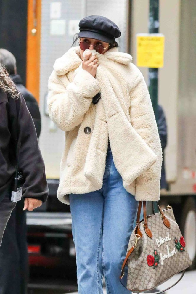 Vanessa Hudgens in Fur Coat and Jeans out in NYC