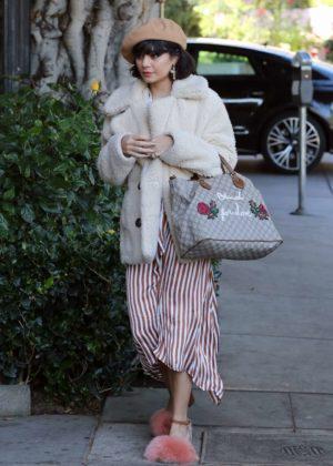 Vanessa Hudgens in Fur Coat out in LA