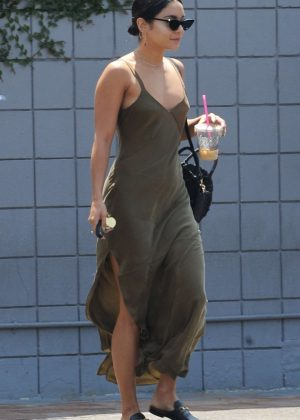 Vanessa Hudgens in Green Long Dress - Out for breakfast in Burbank