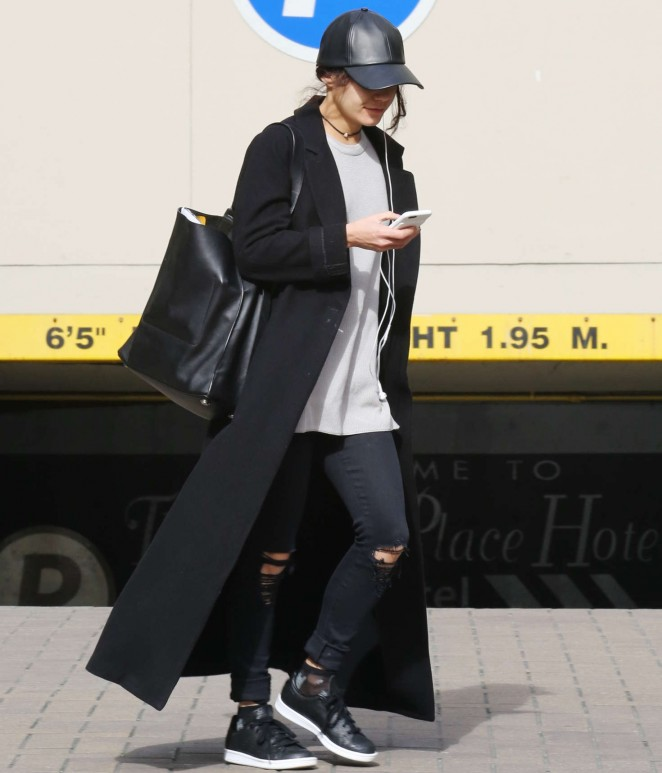 Vanessa Hudgens in Jeans and Long Coat out in LA