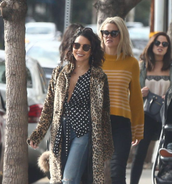 Vanessa Hudgens in Leopard Print Coat out in Los Angeles