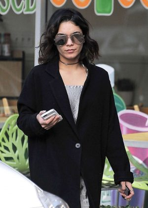 Vanessa Hudgens in Long Black Coat out in LA