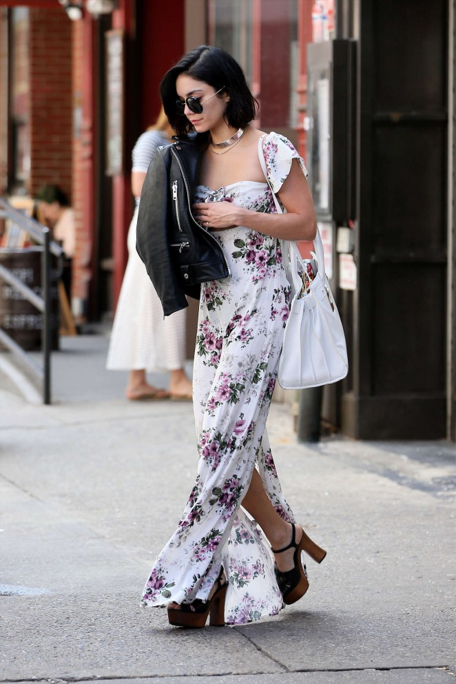 Vanessa Hudgens in Long Floral Dress out in Soho