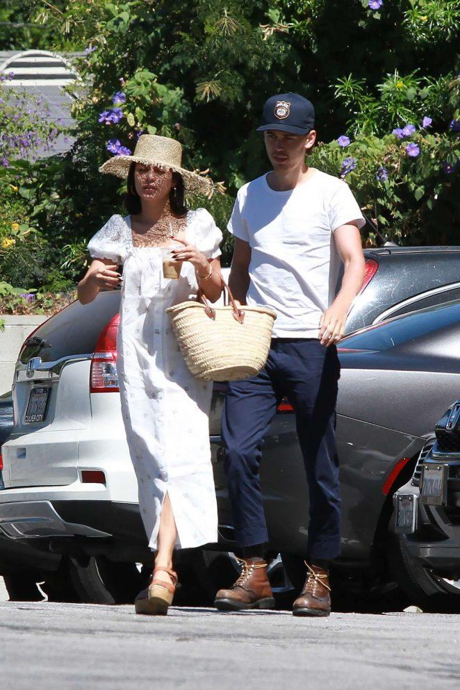 Vanessa Hudgens in Long Dress with boyfriend Austin in Studio City