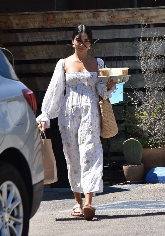 Vanessa Hudgens in Long Summer Dress - Out in Los Angeles