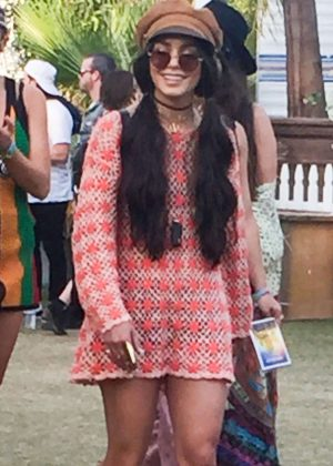 Vanessa Hudgens in Mini Dress 2017 Coachella Music Festival in Indio