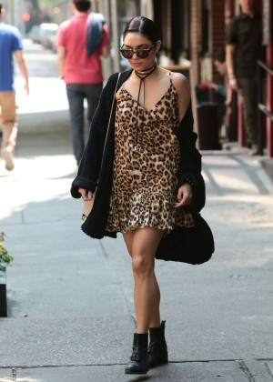 Vanessa Hudgens in Leopard Print Mini Dress out in Soho
