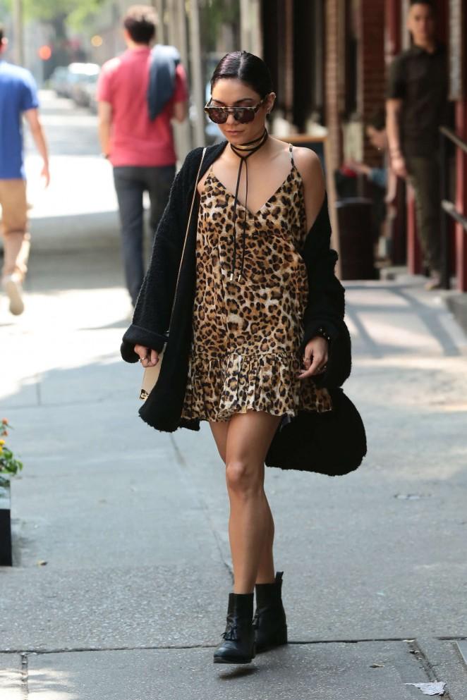 Vanessa Hudgens in Leopard Print Mini Dress out in Soho