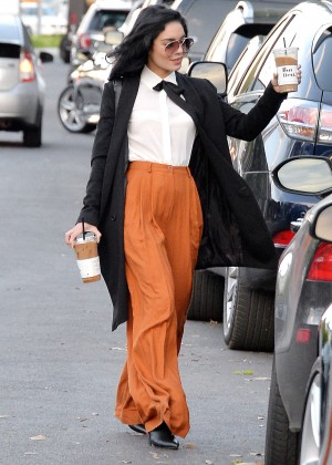 Vanessa Hudgens in Orange Pants Out in West Hollywood