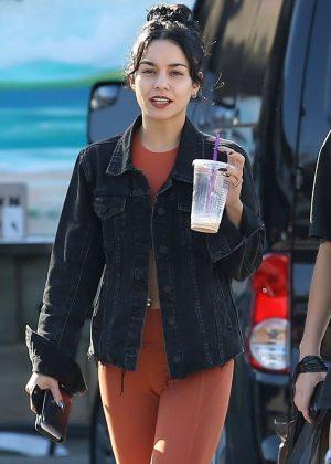 Vanessa Hudgens in Orange Tights - Heads at Halloween store in LA