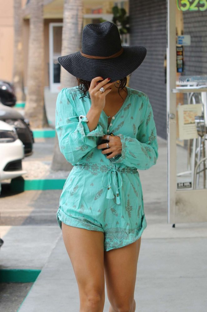 Vanessa Hudgens in Short Jumpsuit Out in Studio City