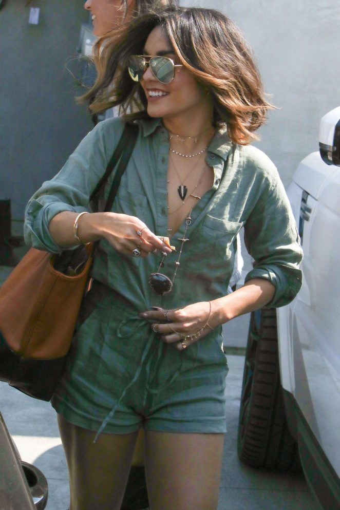 Vanessa Hudgens in Short Jumpsuit out in West Hollywood