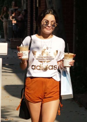 Vanessa Hudgens in Shorts at Alfred Coffee on Melrose Place