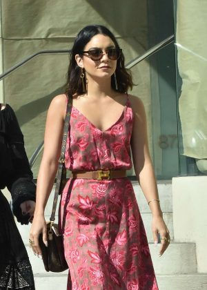 vanessa hudgens in summer dress out in west hollywood