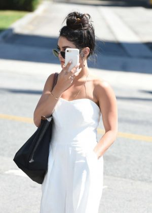 Vanessa Hudgens in White Dress out in LA