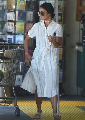 Vanessa Hudgens in White Dress Shopping in Los Angeles
