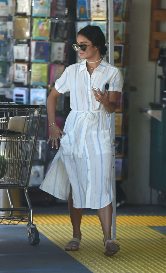 Vanessa Hudgens in White Dress Shopping in Los Angeles
