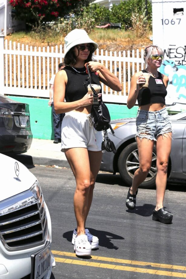 Vanessa Hudgens - In white shorts with her friend GG Magree in Los Angeles