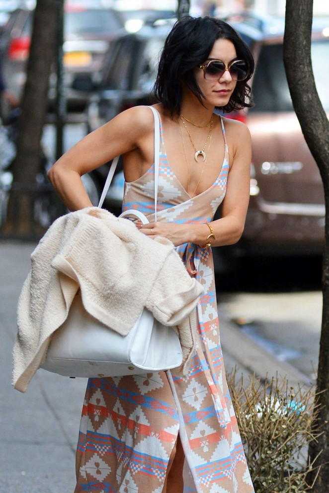 Vanessa Hudgens in Long Dress out in Soho